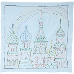 Sashiko World Russia Stamped Embroidery Kit Rainbow Palace