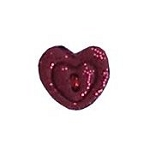 Red Glitter Imprint Heart Button - SB009XS